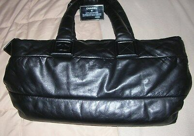 Authentic CHANEL Black Leather Coco Cocoon Large Reversible Zipper tote ab14e0cdb1ed7