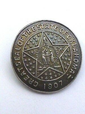 """vintage """" 1907 Great Seal of Oklahoma """" Sterling Pin"""