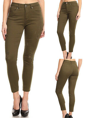 Women's Ripped Stretch Denim (Olive Color)