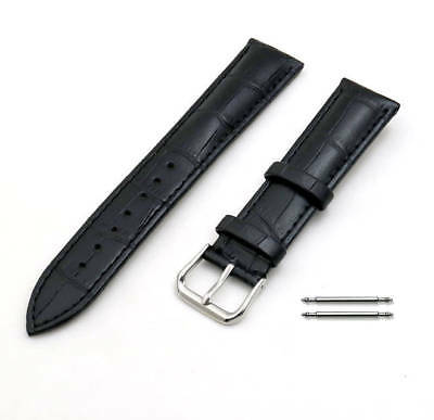 Black Elegant Croco Genuine Leather Replacement Watch Band Strap SS Buckle #1041