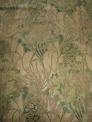 Antique Art Nouveau Fabric Woven Metallic Floral Design Olive Green Khaki Panel