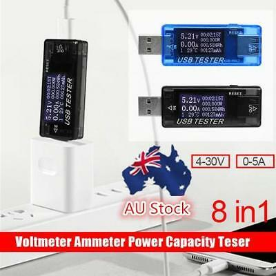 AU 8in1 USB Multi Use Tester Voltmeter Ammeter Current Voltage Capacity Monitor