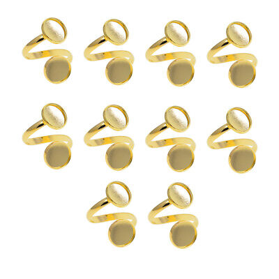 10pcs Gold Plated Spiral Adjustable Ring Blanks/Bases Fits 2 12mm Cabochons