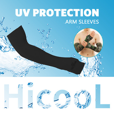 HICOOL 1 Pair UV Protection Sleeves Arm Sun Block Cover Stretchy Cycling Golf