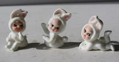 Bunny Rabbit Baby Figures Set of 3 Bone China Japan Hand Painted Adorable Labels