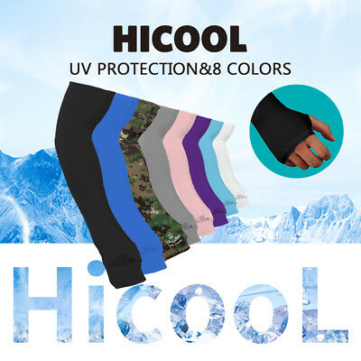 1 Pair UV Protection Sleeves Arm Sun Block Cover Stretchy Cycling Golf 8 Colours