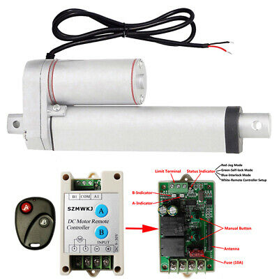 1500N 6 inch Linear Actuator 12V Heavy Duty Electric Motor &Wireless Control Kit