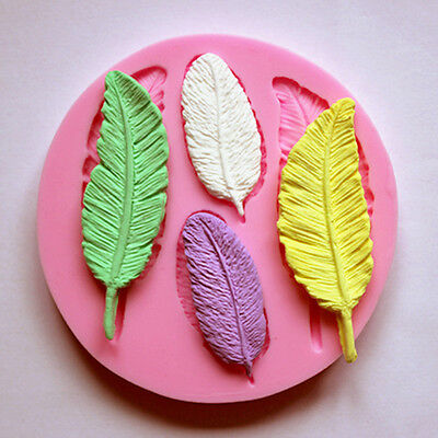 Silicone Mold Feather for fimo resin polymer clay fondant cake chocolate moulds-