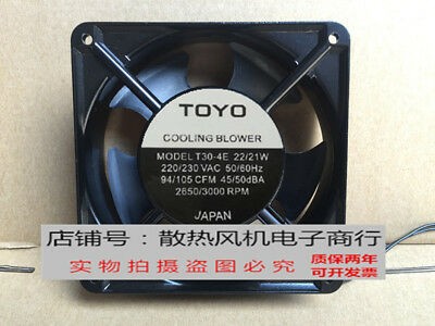 for TOYO T30-4E Mute Aluminum frame AC cooling fan 220/230V 22/21W 120*120*38mm