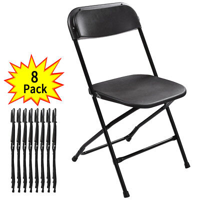 8Pcs Commercial Plastic Folding Chairs Stackable Wedding Party Event Chair Black