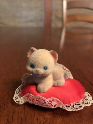 1982 Hallmark Merry Miniatures? Kitten On Pillow Lace Valentine Cat Kitty