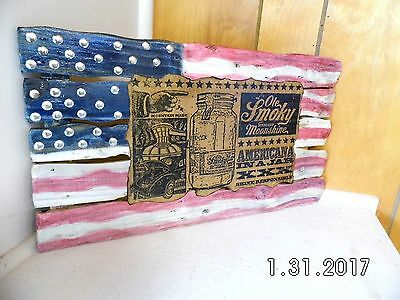 Handmade Wooden Ole Smoky Tennessee Moonshine Faded Flying Flag Bar Sign 2017