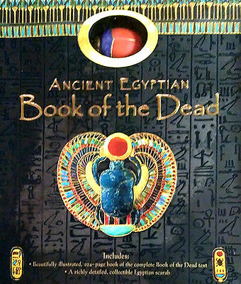 Ancient Egypt Book of the Dead Magic Prayers + Handcrafted Wood Scarab Gift Set