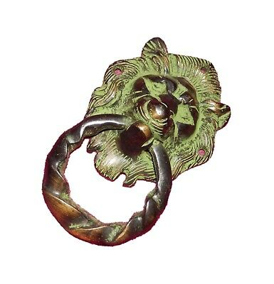 Green Lion Old Vintage Antique Style Handcrafted Solid Brass Door Knocker BA191