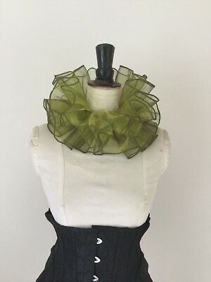 Olive Green organza circus neck ruff, pierette clown costume.