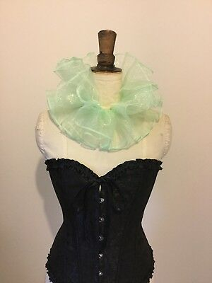 Mint Green organza circus neck ruff, pierette clown costume