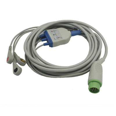 One-piece 3 Leads ECG Cable with Snap for Komtron 7000 K2000 AHA Round 12 pin