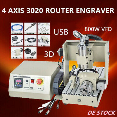 Usb 4 Axis 3020 Cnc Router Engraver Engraving Drilling Milling Carving 800W Vfd