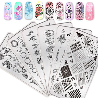 NICOLE DIARY Nail Art Stamping Plates Ongle Pochoir Template Modèle Manucure DIY
