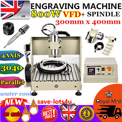Cnc Router Engraver Engraving Cutter 4 Axis 3040 Milling 800W 3D Cutter Vfd Uk