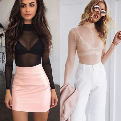 Women Sheer Mesh Long Sleeve Turtle Neck Blouse See-through Crop Top T Shirt