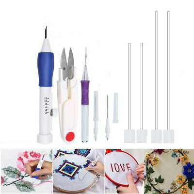 Magic Embroidery Pen Punch Needles Threaders Stitching Punch Pen Set Craft Tools