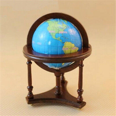 1:12 Dollhouse Miniature Furniture Room Wooden Brown Spinning World Globe Toy ♫