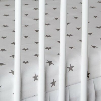 2 x COT BED FITTED SHEET white grey stars 60x120 cm 70x140 cm PURE COTTON