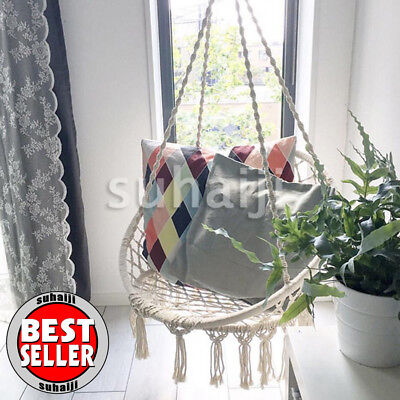 Wonderful Beige Hanging Cotton Rope Macrame Hammock Chair Swing Outdoor Home Garden  120kg