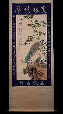 Excellent Rare Old Chinese Landscape Peacocks Hand Painting Mark TangYin KK158
