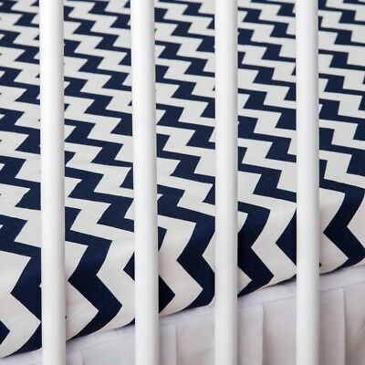 2 x COT BED FITTED SHEET navy chevron white 60x120 cm 70x140 cm PURE COTTON