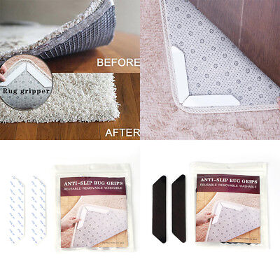 8 X Rug Mat Carpet Safety Gripper Reusable Non Slip Anti Skid Washable Grip Pad