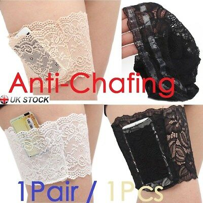 Ladies Lace Anti-Chafing Pocket Thigh Bands Elastic Sock Prevent Non Slip 1/2PCS