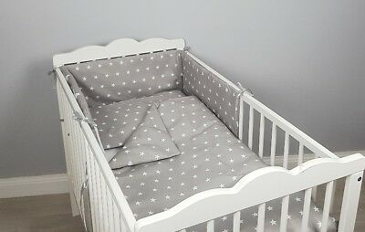 COT BED BEDDING SET 2 ,3, 4 pcs pc grey stars COTTON padded bumper pillowcase