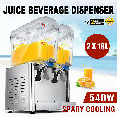 36L Stainless Steel Cold Juice Beverage Dispenser Commerical Cooler Drinks 2x18L
