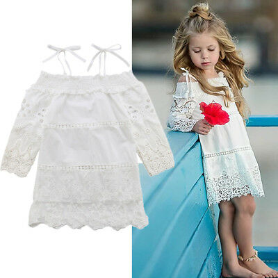 Kid Baby Girl Lace Floral Strap Summer Party Pageant Tutu Dress Sundress Clothes