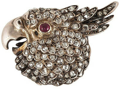 3.95cts ROSE CUT DIAMOND RUBY ANTIQUE VICTORIAN LOOK 925 SILVER BROOCH PIN