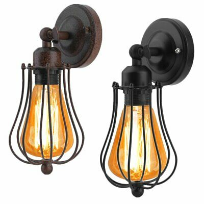 Retro Vintage Antique Industrial Wall Light Rustic Wall Sconce Lamp Iron Cage UK