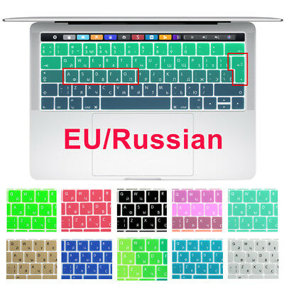 EU Silicone Russian Keyboard Cover For Macbook Pro 13 15 Touch Bar A1706 A1707