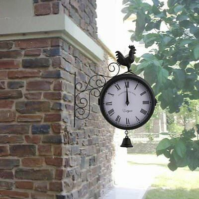 Outdoor Garden wall Station Clock with Bracket cockerel and bell swivels 20cm Uk