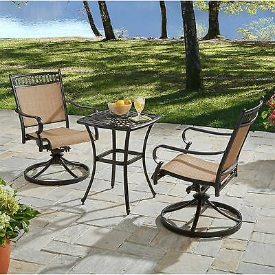 Admirable 3 Piece Brown Swivel Sling Seat Patio Bistro Set Outdoor Caraccident5 Cool Chair Designs And Ideas Caraccident5Info