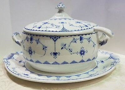 Furnivals blue denmark large soup tureen with ladle