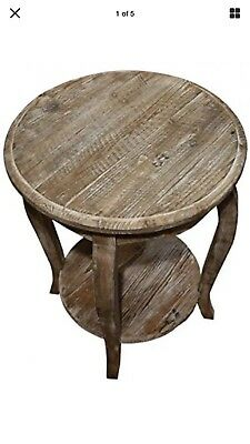 Alaterre Furniture Austerity Reclaimed Round End Table, Driftwood ARSA1525