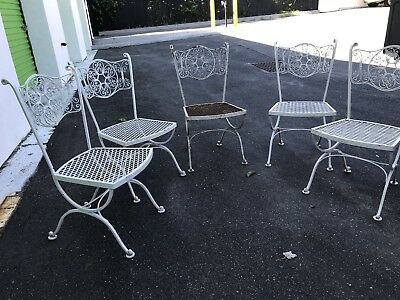 Vintage Set Of 5 Woodard Andalusian Wrought  Iron Patio Arm Chairs Set.