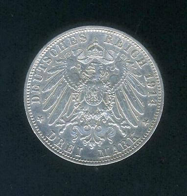 1914 D German 3 Marks (Drei) - Very Nice Coin!