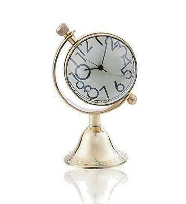 DeskTop Brass Clock Nautical Home Office Decor Desk Top