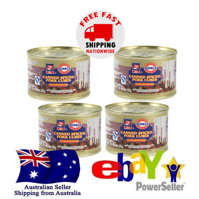 4x B2 Ma Ling Canned Spiced Pork Cubes 142g Instant Tasty Chinese Food Cooking