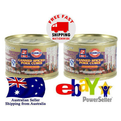 2x B2 Canned Spiced Pork Cubes 142g Tasty Cooking Food