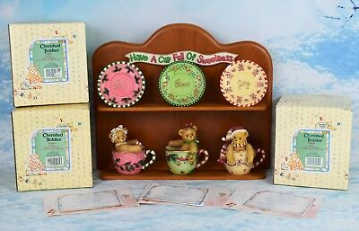 "Cherished Teddies ""Love"" ""Peace"" and ""Joy"" Teacup figurines with wall shelf"