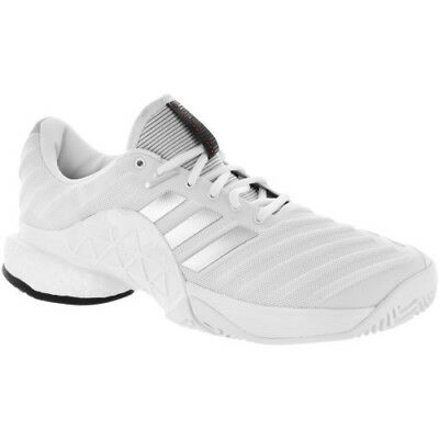 quality design 50798 64385 Mens Adidas Barricade 2018 Boost Tennis Shoes Size 12 White Silver Grey  DB1570